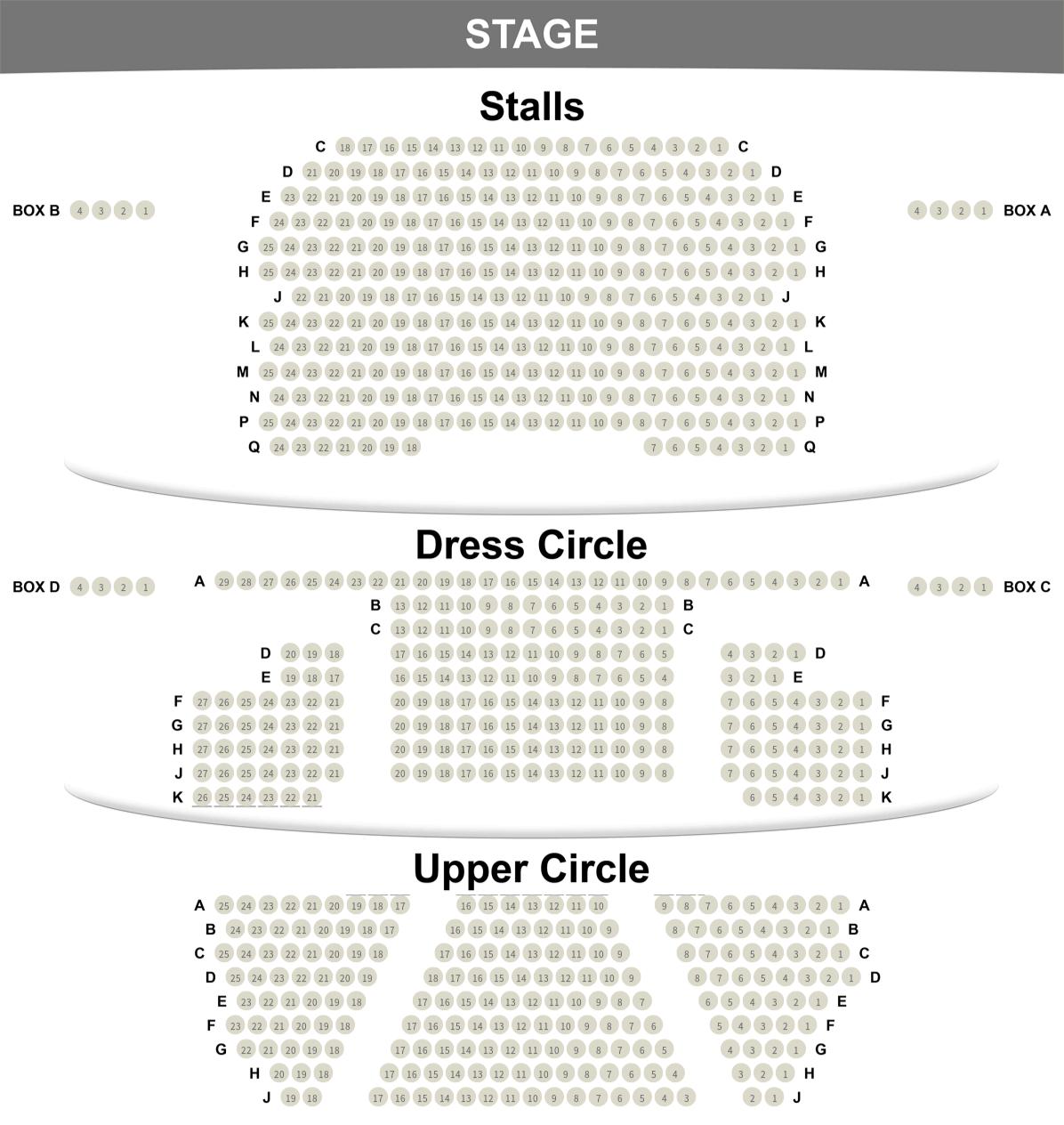 Playhouse Theatre seating plan